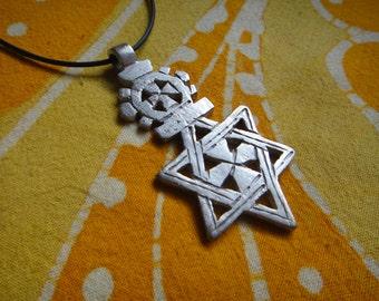 Big Ethiopian Star of David Pendant Jewish Talisman