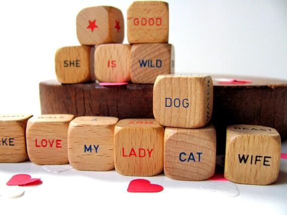 Vintage Scrabble Sentence Cubes Valentines Day Word Dice Pet