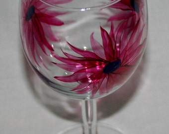magenta flowers wineglass hand painted