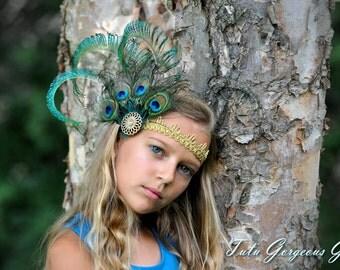 Peacock Feather Headpiece...Peacock Feather Fascinator....Flapper Style Headpieces...Roaring Twenties Art Deco Hairpiece...Peacock Costume