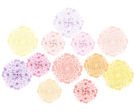 Chrysanthemum clipart Wedding flower clipart Digital Flower