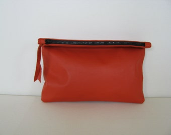 Clutch Bag / Cosmetic Bag / Hand Bag/ ipad case/sleeve---Orange Leather