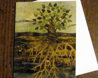 notecard set of four Deep Roots Citra Solv art print