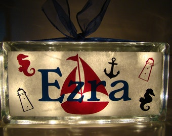 Nautical theme Customized Personalized glass block night light with vinyl lettering