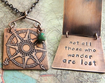 Not All Those Who Wander Are Lost Necklace - Etched Compass Rose - Double Layered Necklace - Wanderlust Travel Jewelry - Tolkien Quote