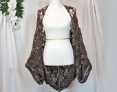 Handmade Crochet Kimono Style Shrug, Short Sleeve Jacket, Wrap, Original Zig Zag Crochet Stitch, Lacy, Softly Curved, Greys and Burgundy