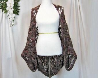 Kimono Style Shrug, Handmade, Crochet, Short Sleeve Jacket, Wrap, Original Stitch, Zig Zag Crochet, Lacy, Softly Curved, Greys Burgundy