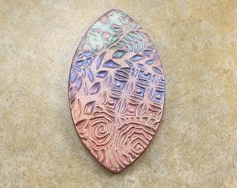 Bold Artisan Pendant Bronze Antique Copper Lavender Seafoam Green Floral Pendant