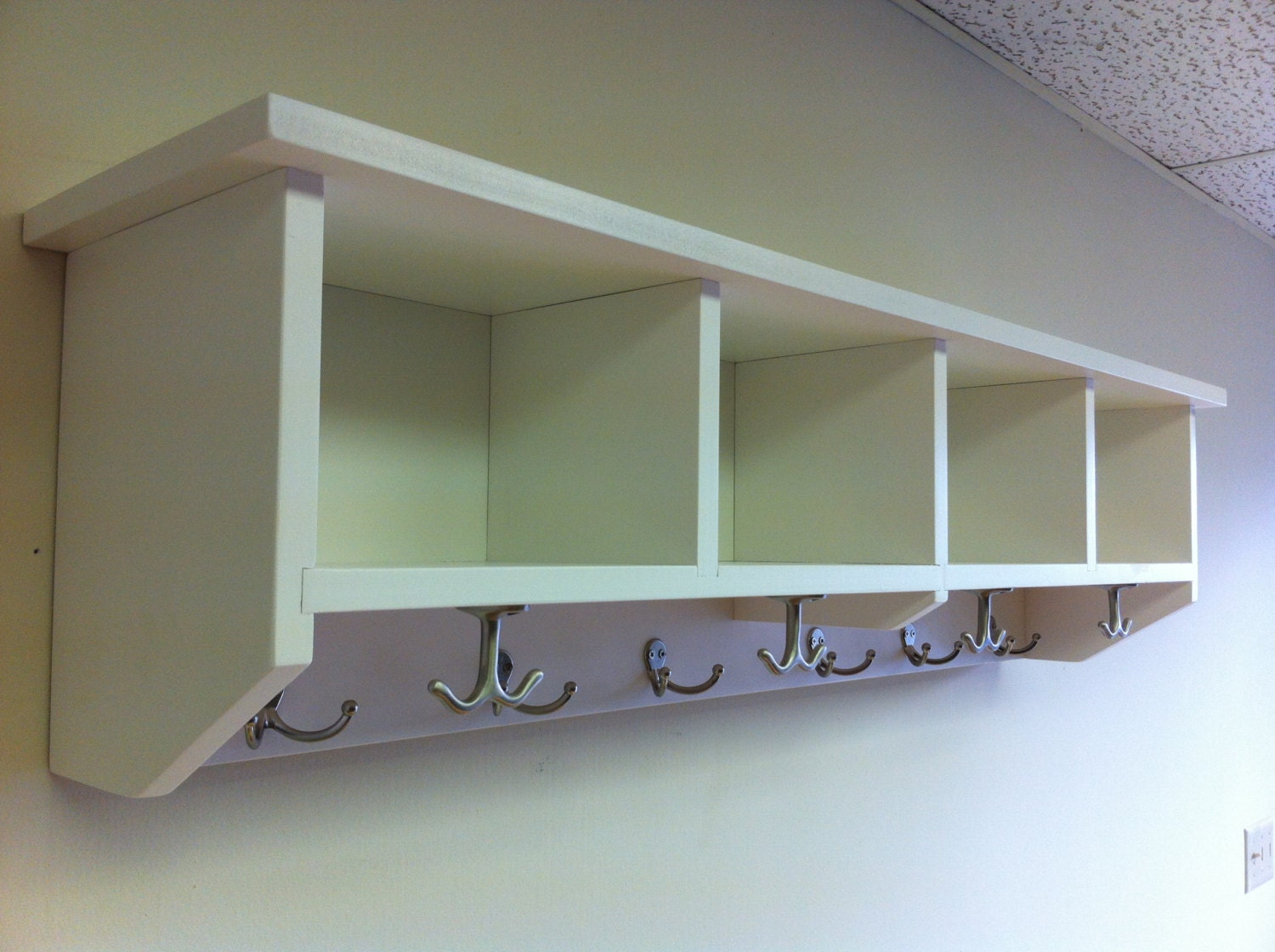 entryway shelf with cubbies and coat hooks by. Black Bedroom Furniture Sets. Home Design Ideas