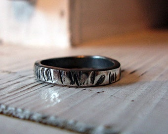 Mens Sterling Silver Wedding Band 4mm Width with Rustic Hammered Texture Hot Rox Commitment Ring
