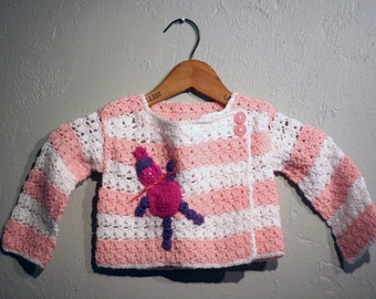 Crochet Pink and White Sweater, Appliqued Sweater, Toddler's Cute Sweater