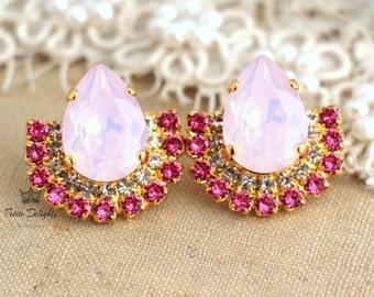 Pink Stud Earrings,Crystal Pink Earrings,Pink Opal studs,Swarovski Pink Earrings,Cotton Candy Earrings,Gift for her, Bridal Pink Earrings