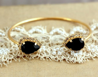 Cuff bracelet Black and Gold Swarovski Rhinestone, High fashion,Bridal jewelry - 2 micron extra thick 14 k Gold Plated Swarovski Bracelet.