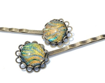 Dichroic Bobby Pins (one pair), Fused Glass Hair Jewelry - Antique Bronze, Victorian Filigree Flower - Orange, Gold, Green (Item 50130-B)
