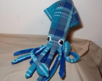 Made to Order Fifi McSquidlan the Turquoise Plaid Fleece Squid Plushie Stuffed Animal Ocean Marine Sea Creature