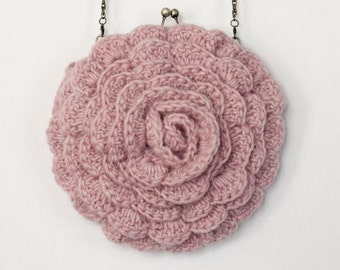CROCHET PATTERN instant download - Ruffled Chic Bag - pink beautiful gorgeous pretty rose flower purse tutorial