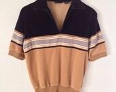 Retro Velour Vneck Stripe Shirt Small