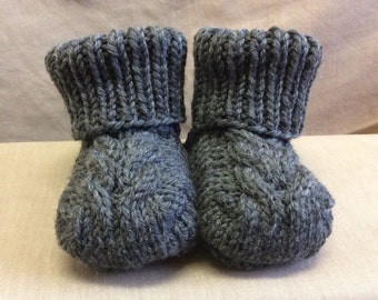 Stay On Baby! Booties - 6-12 Month Size - Dark Grey