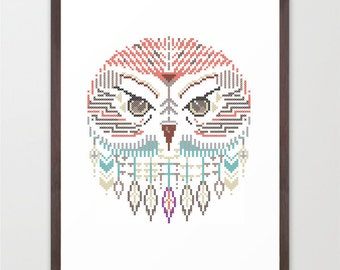 Owl wild cross / printed poster A3