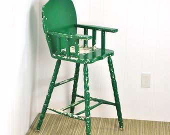 Vintage Highchair Baby Seat Chippy Distressed Green Home Decor Doll Chair Farmhouse Rustic Decor