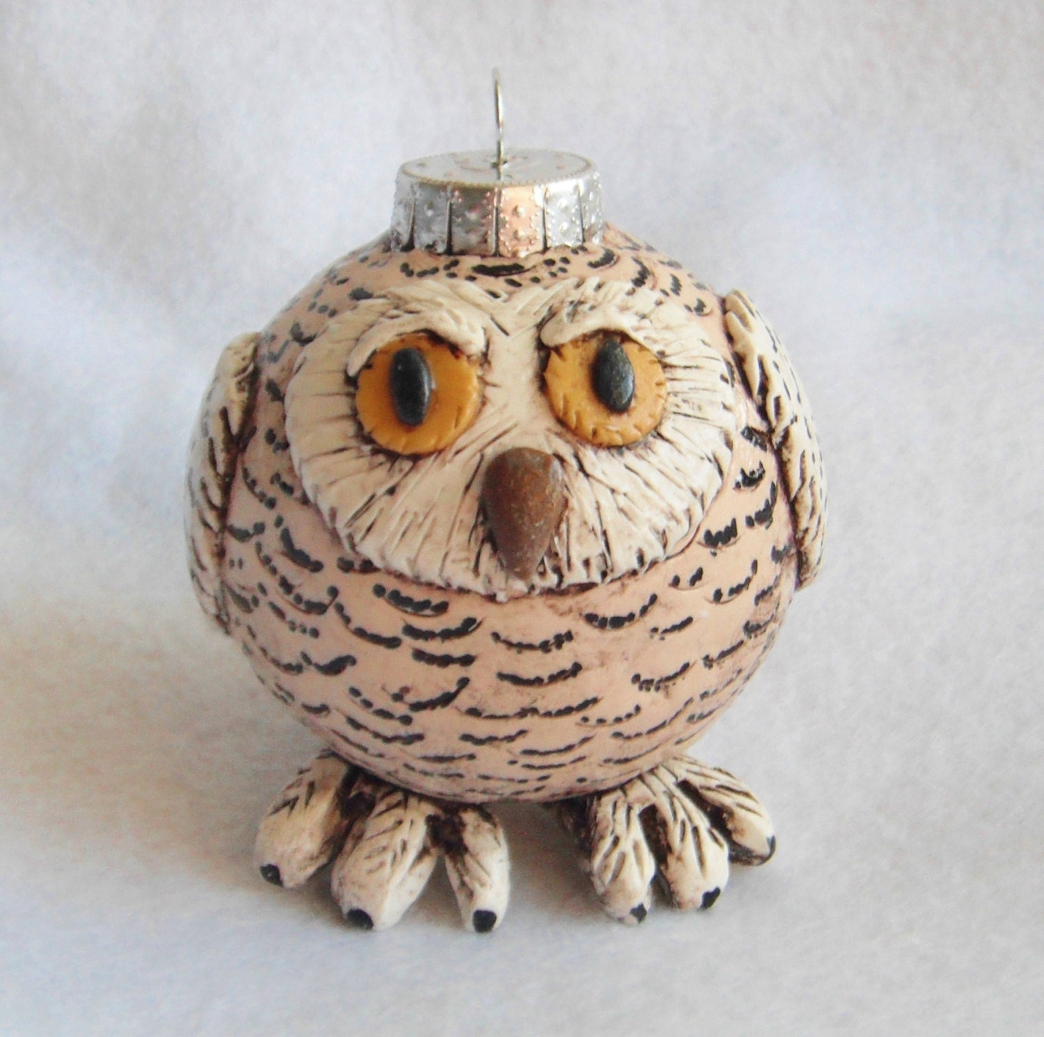 Christmas Ornament Snow Owl glass polymer clay covered