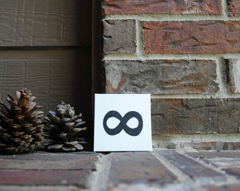 "Infinity Symbol Painted on 4""x4"" Canvas Panel"