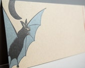 Bloodthirsty Vampire Bat – Letterpress Printed Folded Card on Recycled Kraft Paper