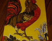 "Vintage 1960s Pure Linen Rooster Kitchen Towel, Yellow and Orange, 16 1/2"" x 28 3/4"" Excellent with Label"