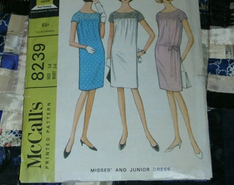"Vintage 1966 McCall's Pattern 8239 for Misses Two Section Dress, Size 14, Bust 34, Waist 26"", Hip 36"""