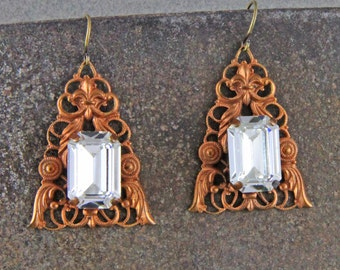 Vintage Brass Filigree with Rhinestones Handmade  Earrings with French Hooks