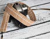 Tan and White Herringbone Camera Strap- Men's Accessories - Men's Camera Strap - Unisex Camera Strap