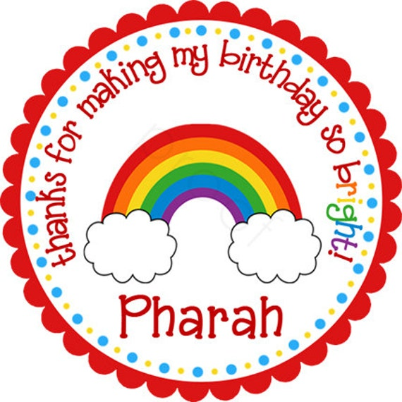 Personalized Rainbow With Clouds Stickers - Party Favor Labels, Address Labels, Birthday Stickers, Rainbow, Care Bears - Choice of Size