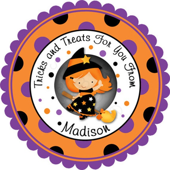Cute Little Witch Girl Personalized Stickers , Party Favor Labels, Halloween Stickers, Trick or