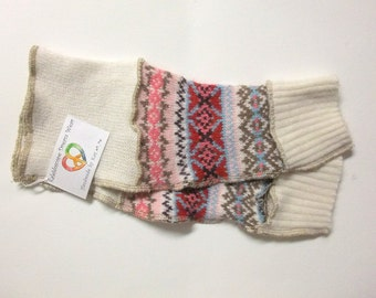 Arm Warmers, Fingerless Gloves with Thumb Holes - White/Red/Pink/Tan