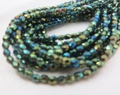 3mm Peacock Green Teal Czech Fire Polished faceted round jewelry beads - 50 beads strung