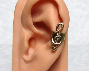 Treble Clef Musical Ear cuff ' left ear '