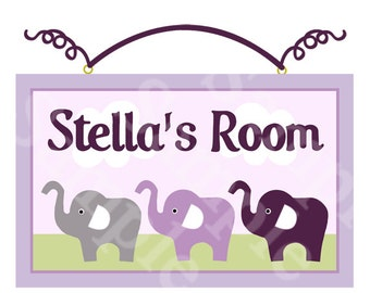 Lavender/Gray Elephants Sign/Plaque Nursery Wall Decor  Personalized with any Name or Text