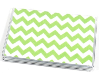 SALE Card Case Mini Wallet Green Chevron