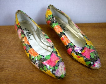 Floral Sequined Flats