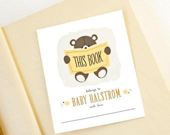 Personalized Bookplates, Baby Shower Bookplate, Teddy Bear Labels // TEDDY READS