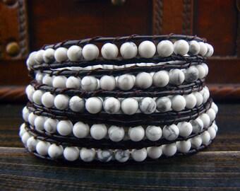 5 Wrap Bracelet  White Turquoise Bracelet  Leather Bracelet Leather Wrap Bracelet Beaded Bracelet 10747