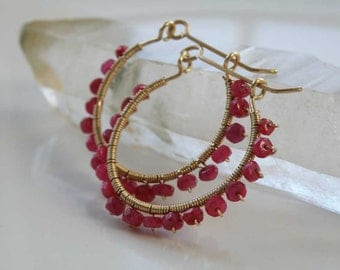 Red Ruby gemstone earrings wire wrapped on Gold filled gauge - faceted beads - Natural stones