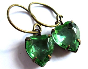 Glass Heart Earrings Green Claw Set Romantic Jewelry