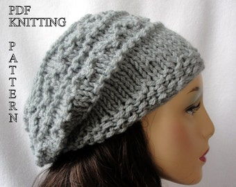 Knitted Hat Pattern, Knit slouch beanie pattern, Knit Fisherman Slouch Hat Pattern