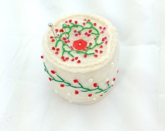 Felted recycled wool pincushion - upcycled sweater pincushion - holiday pincushion - embroidered pincushion