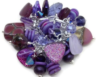 Modern Heirloom - Vintage Inspired - Charm Bracelet - Royal Purple - Lavender -Orchid Collage - Lampwork - Nail Polish