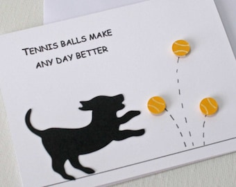 Dog Birthday Card - puppy silhouette greeting card, Cheer Up card