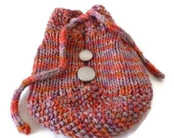 ON SALE / CLEARANCE - Knit Drawstring Bag, Accessory bag, travel bag, drawstring bag, makeup bag,