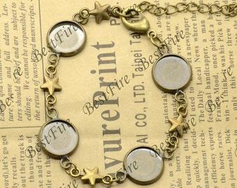 10 pcs of Antique Brass star Adjustable bracelet Base,round blank pad fit cabochon size 12mm, bangle findings