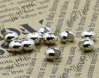 100 pcs of Silver Tone plated crimp covers 4x6mm,loose bead,findings beads